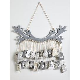 image-Festive Hanging Wooden Antler Advent Calendar With Pockets