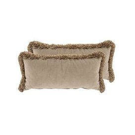 image-Alexander and James - New England Nantucket Pair of Fabric Bolster Cushions - Brown