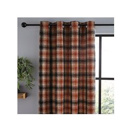 image-Lomond Check Butterscotch Eyelet Curtains Butterscotch (Orange)