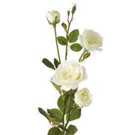 image-Faux English Garden Rose Flower Stem, White - Single