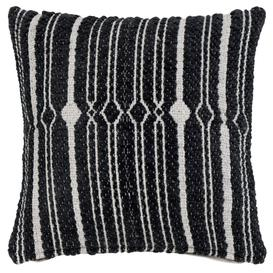 image-Black and taupe woven cushion cover 40x40cm