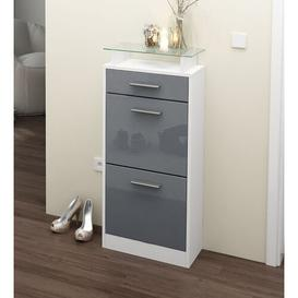 image-Loret V2 8 Pair Shoe Storage Cabinet Vladon Finish: Grey (glossy)/White (matt), Lighting included: Yes