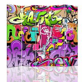 image-Canvas Abstraction Subtitles 5 Panel Room Divider Brayden Studio