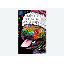 image-'Christmas Pit Bull' by Dean Russo Graphic Art Print on Wrapped Canvas Happy Larry