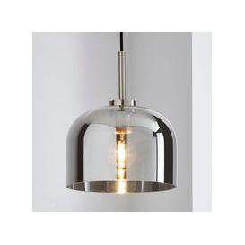 image-Palazzo Smoked Glass Pendant Ceiling Fitting Chrome