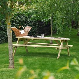 image-Oakham Rounded Picnic Bench Sol 72 Outdoor Finish: Light Green, Table Size: 180cm L x 140cm W