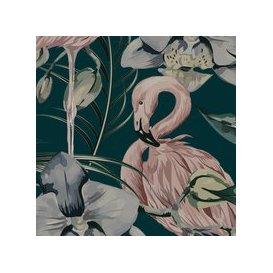 image-Tropical Shore (Tropical Flamingo) Wallpaper (colour: Deep Green)