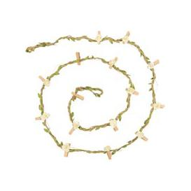 image-Artificial Leaf Fairy Lights with Flower Clips W180