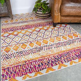 image-Faded Distressed Colourful Aztec Pattern Rug - Oscar