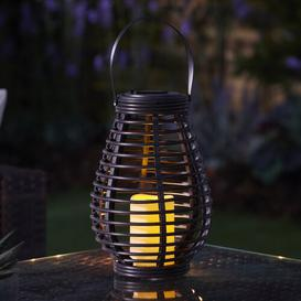 image-Clea Solar Powered Outdoor Rattan Solar Lantern with Electric Candle Sol 72 Outdoor Colour: Grey