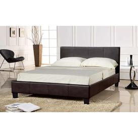 image-LPD Prado Brown Faux Leather Bed Frame - Single