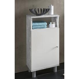 image-Mathieu 35 x 79.5cm Free-Standing Bathroom Cabinet Mercury Row Colour: Concrete/White melamine