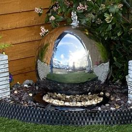 image-Sphere Stainless Steel Water Feature with Light Sol 72 Outdoor Size: 125cm H x 100cm W x 100cm D, Power Source: Solar