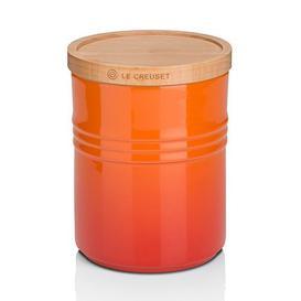image-Le Creuset Medium Storage Jar With Wood Lid Volcanic