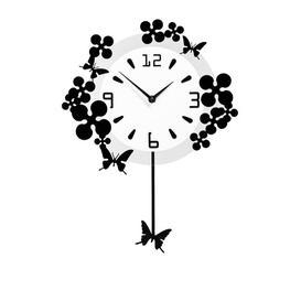 image-Pendulum Flower Butterflies Wall Clock Mercury Row