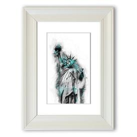image-'Statue of Liberty' Framed Graphic Art Print East Urban Home Size: 126 cm H x 93 cm W, Frame Options: White