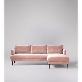 image-Swoon Kalmar Corner Sofa in Blush Easy Velvet With Dark Feet