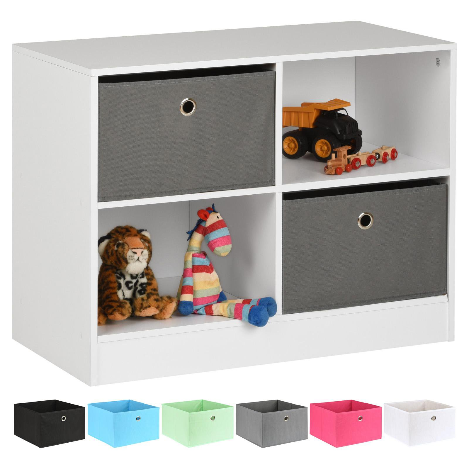 image-Hartleys White 4 Cube Kids Storage Unit & 2 Easy Grasp Box Drawers - Grey
