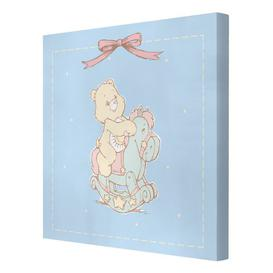 image-Sunshine Care Bear on a Rocking Horse Graphic Art Print on Canvas East Urban Home Size: 70cm L x 70cm W