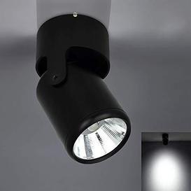 image-7W Black LED Single Spotlight Fitting for Kitchen (Cool White), 180Adjustable Spotlight Head. Wall Spotlight Led for Bedroom. (COB) - Very Good