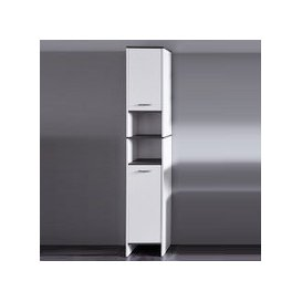 image-Matis Modern Bathroom Cabinet Tall In White And Smoky Silver