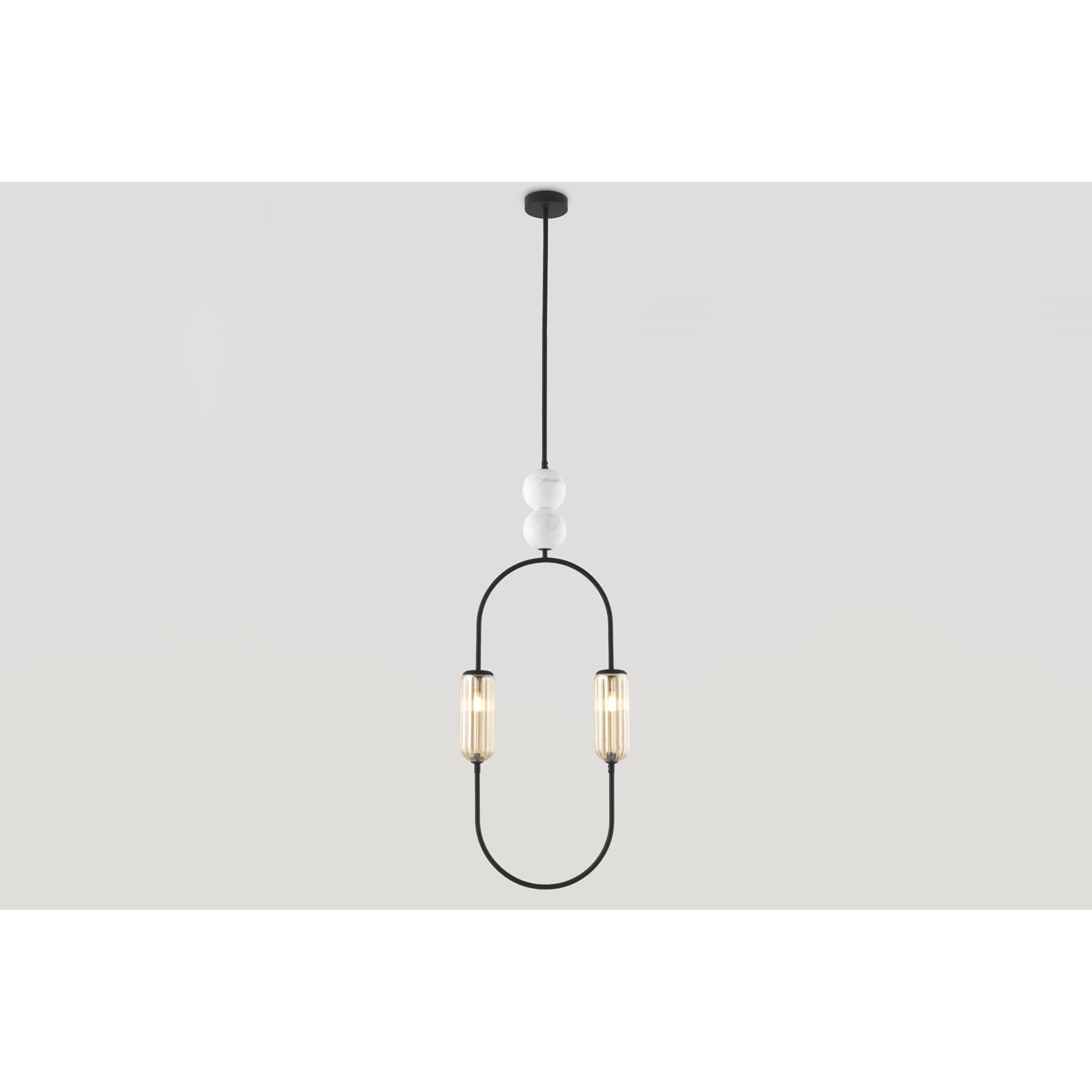 image-Royce Pendant Lamp, Matt Black / White Ball / Smoked Glass