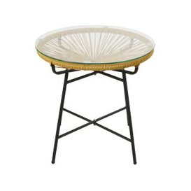 image-Mustard Yellow Resin and Glass Garden Coffee Table Copacabana