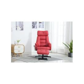 image-GFA Auckland Swivel Recliner Chair with Footstool - Cherry Plush Fabric